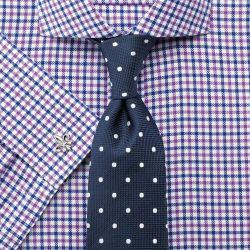 Мужская рубашка под запонки в сиренево-синюю клетку Charles Tyrwhitt не мнущаяся Non Iron приталенная Slim Fit (FA226BER)