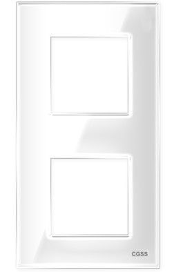 "Двухпостовая рамка вертикальная стеклянная белая ""Эстетика"" GL-VP102-WC"