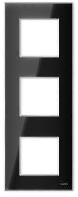 "Трехпостовая рамка вертикальная стеклянная черная ""Эстетика"" GL-VP103-BC"