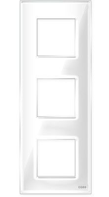 "Трехпостовая рамка вертикальная стеклянная белая ""Эстетика"" GL-VP103-WC"
