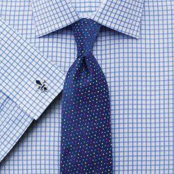 Мужская рубашка под запонки белая в синюю клетку Charles Tyrwhitt приталенная Slim Fit (FC287SKY)