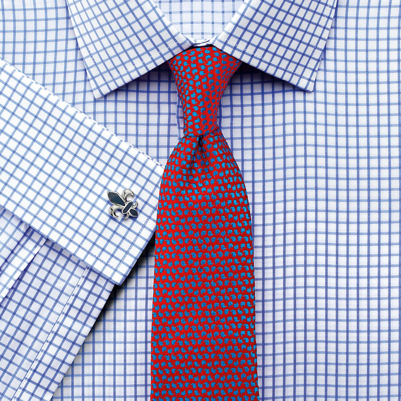 f4fbf82e73e Мужская рубашка под запонки Англия купить Москва белая в синюю клетку Charles  Tyrwhitt сильно приталенная Extra Slim Fit