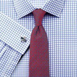 Мужская рубашка под запонки белая в синюю клетку Charles Tyrwhitt сильно приталенная Extra Slim Fit (FD303SKY)