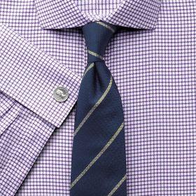 Мужская рубашка под запонки белая в сиреневую клетку Charles Tyrwhitt не мнущаяся Non Iron приталенная Slim Fit (FN459PUR)