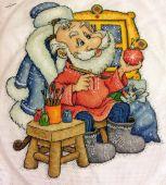 Схема для вышивки крестом Мастерская Деда Мороза. Отшив