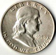 1/2 доллара. США. 1954 год. Серебро.