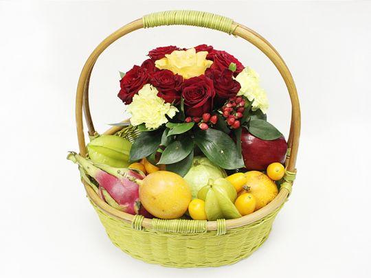Фруктово-цветочная корзина Цветочный сад (Видов фруктов:9)