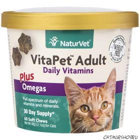 NaturVet® VitaPet ™ ежедневные витамины с Омега для взрослых (60 Мягких жевательных чувитсов)