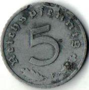 5 рейхспфеннигов.  1940 год. F. Третий Рейх.