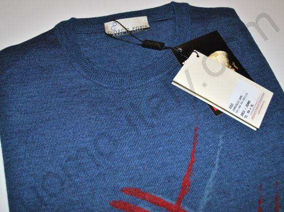 Джемпер шерсть с принтом синий (последний размер 54)