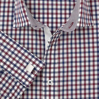 37eb3231b405b78 Мужская рубашка под запонки в красно-черную клетку T.M.Lewin приталенная  Fully Fitted