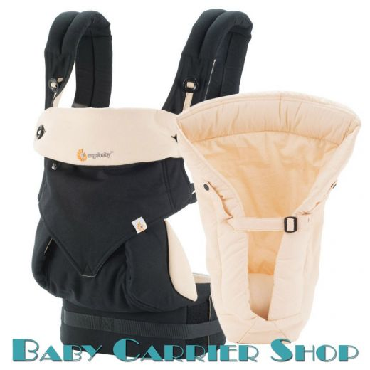 Комплект для новорожденного ERGO BABY CARRIER Bundle of Joy Four Position 360 Слинг-рюкзак «Black with Camel» + Вставка  «Infant Insert Heart2Heart Camel» [Эрго Беби BCII360ABKCM набор эргорюкзак+вставка Черный/Бежевый]
