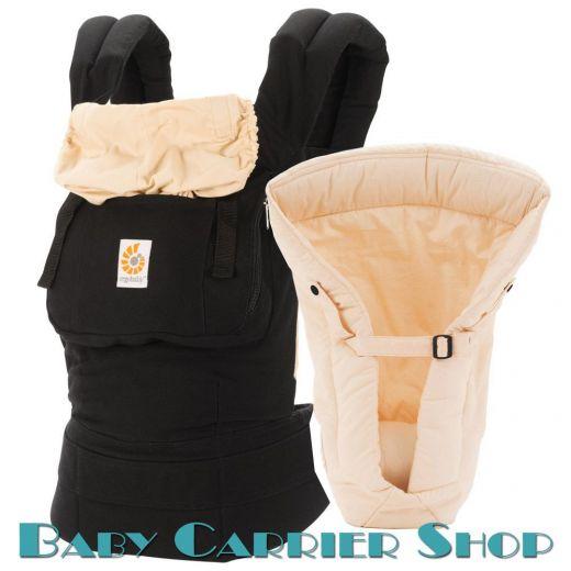 Комплект для новорожденного ERGO BABY CARRIER Bundle of Joy Original Слинг-рюкзак «Black with Camel» + Вставка  «Infant Insert Heart2Heart Camel» [Эрго Беби BCIIA2F14 набор эргорюкзак+вставка Черный/Бежевый]