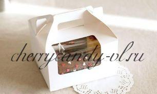 Упаковка для капкейков классическая на 2-6 ячеек, с окном и ручкой