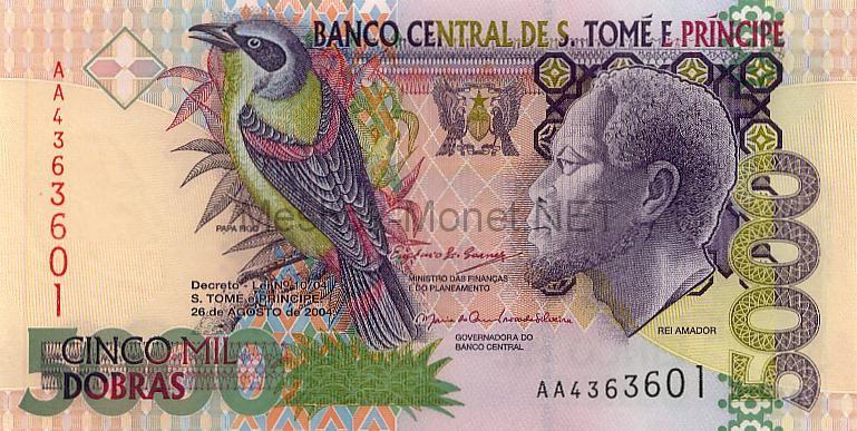 Банкнота Сан-Томе и Принсипе 5000 добра 2004 год