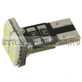 Светодиодная лампа T10 4SMD 5050 W5W белая 12V