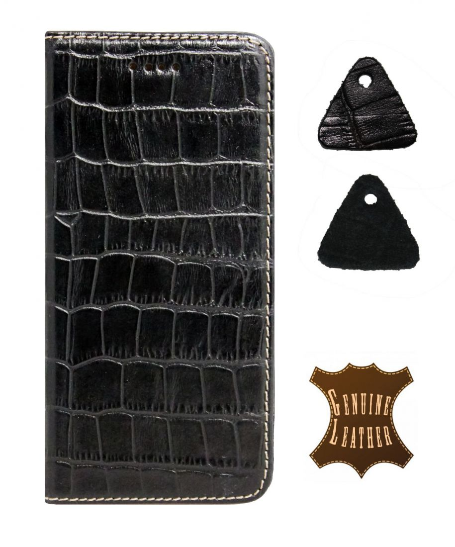 Кожаный чехол PALMEXX для Apple iphone 6/6S крокодил (черный)