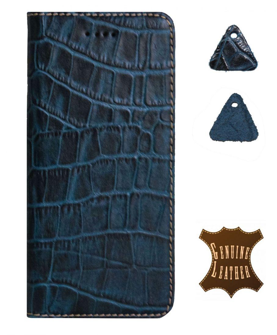 Кожаный чехол PALMEXX для Apple iphone 6/6S крокодил (синий)