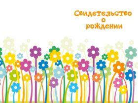 ОБЛОЖКА ДЛЯ СВ-ВА О РОЖДЕНИИ КНИЖКА БЕЛАЯ С ЦВЕТАМИ 005.012