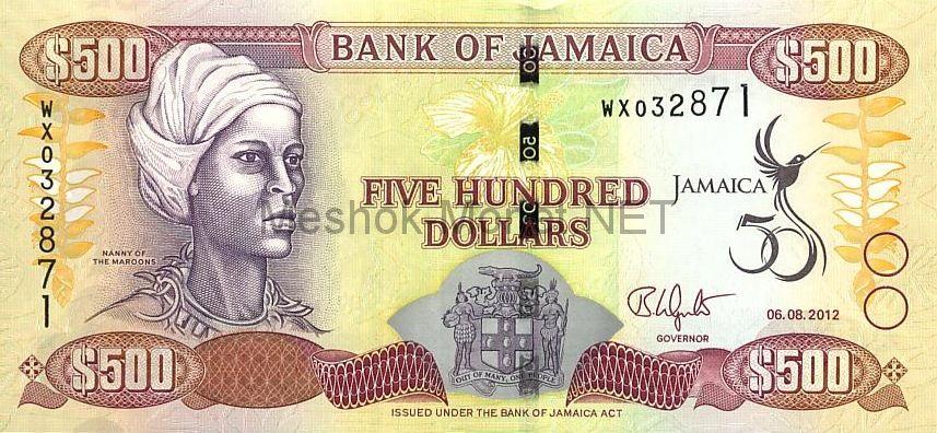 Банкнота Ямайка 500 долларов 2012 год - 50 лет Независимости