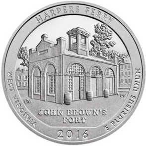 25 центов США 2016, 33-й Национальный парк Харперс Ферри. Harpers Ferry