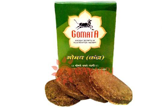 """Прессованый коровий навоз из Вриндавана, производитель """"Гомата"""",  cow dung from Vrindavan, """"Gomata"""". 10 штук"""