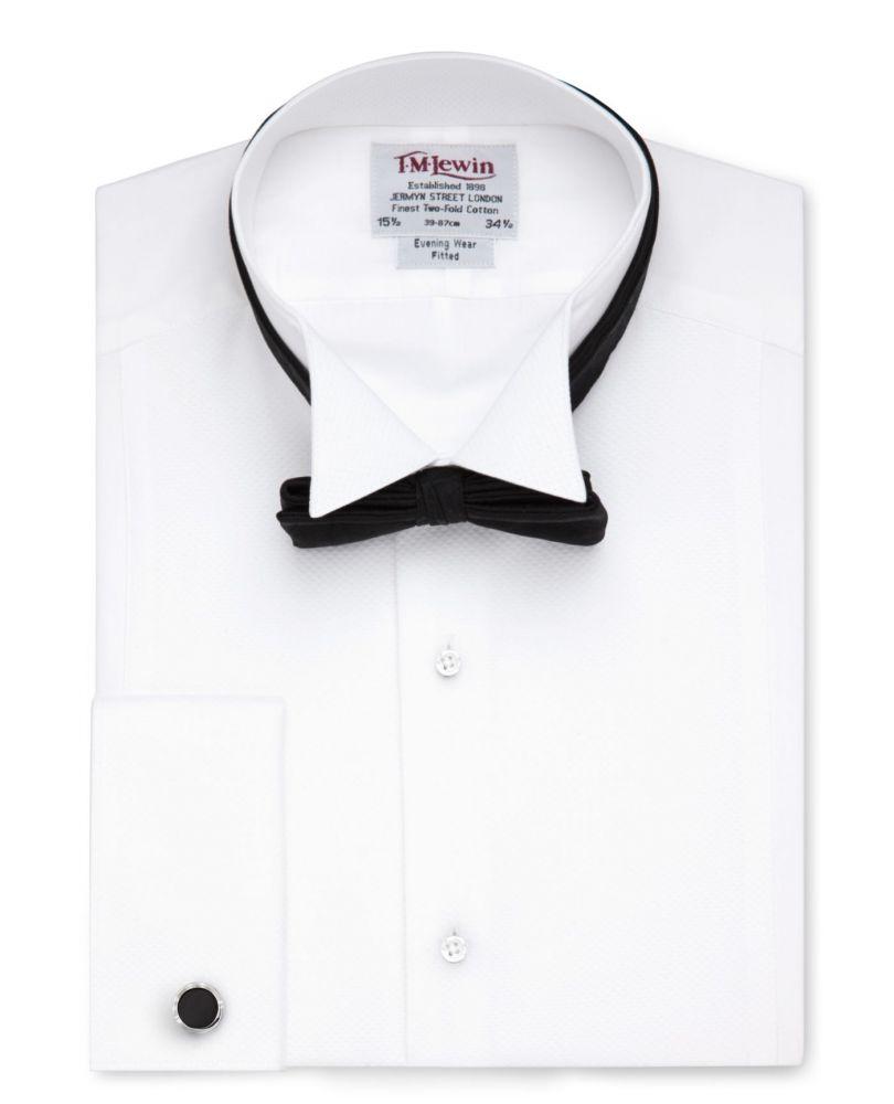 68a93bd2124ee25 английская Мужская рубашка под бабочку, под смокинг купить Москва белая  T.M.Lewin сильно приталенная Fitted