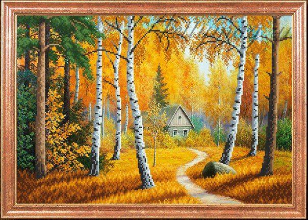 "Рисунок на ткани арт.МК- КС016 ""Домик в лесу"" 39х27 см"