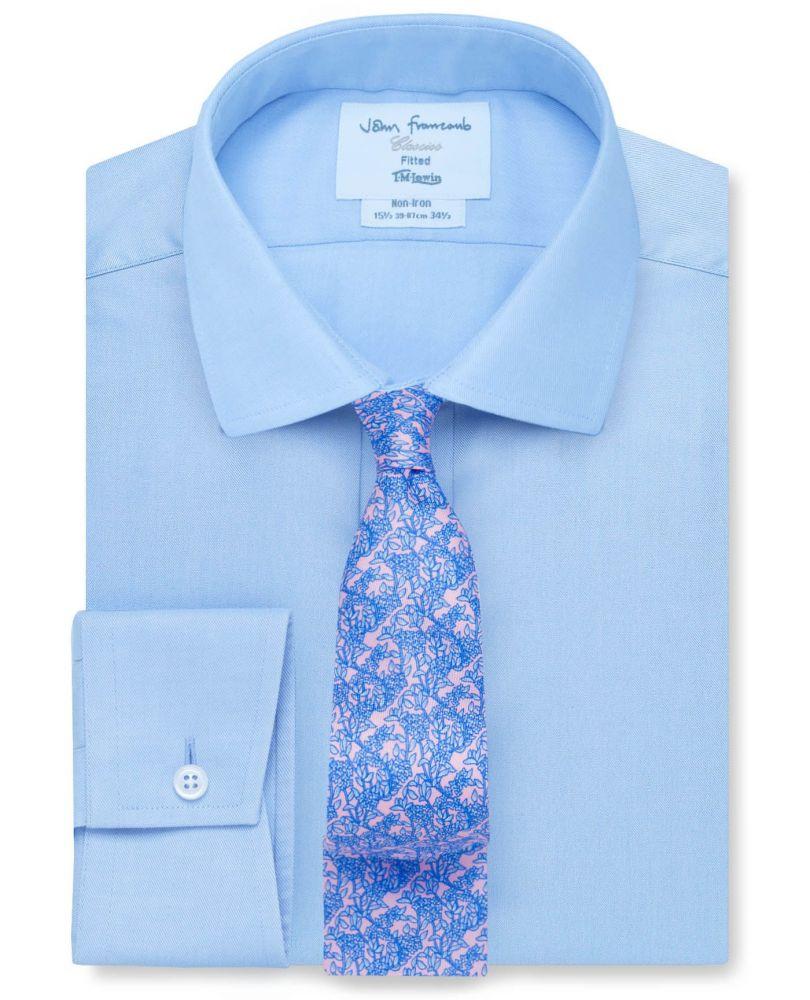 9ab7178d18d английская Мужская рубашка из Англии Великобритании купить Москва светло- синяя T.M.Lewin не мнущаяся Non Iron сильно приталенная Fitted