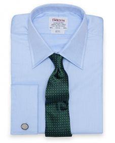 Мужская рубашка под запонки синяя T.M.Lewin приталенная Slim Fit (27684)