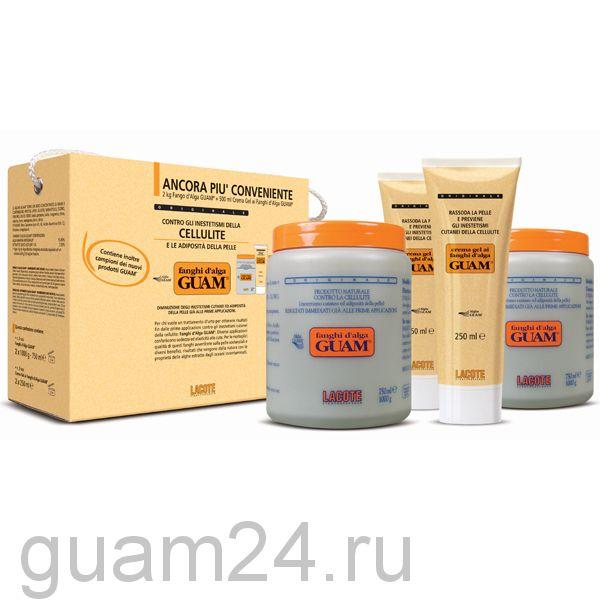 GUAM Маска антицеллюлитная 2 кг + Гель-лифтинг укрепляющий Fanghi D'alga 500 мл  код (0066)