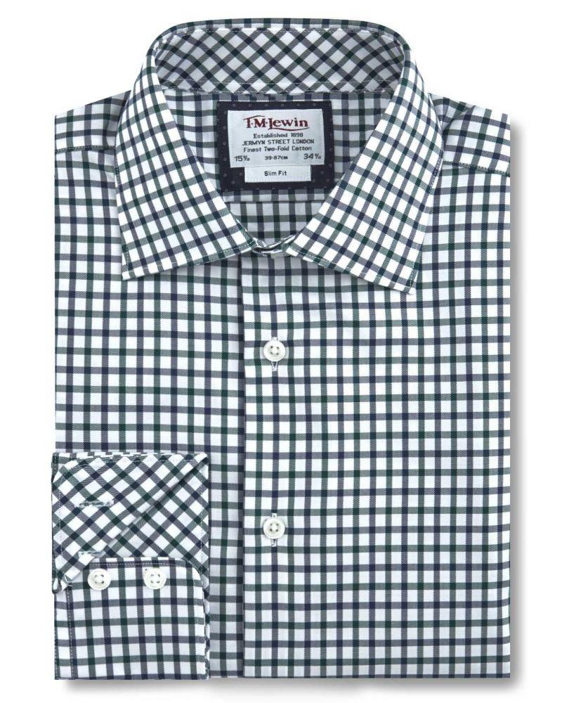 6e216f6cdfe английская Мужская рубашка белая в темно-зеленую клетку купить Москва  T.M.Lewin приталенная Slim Fit
