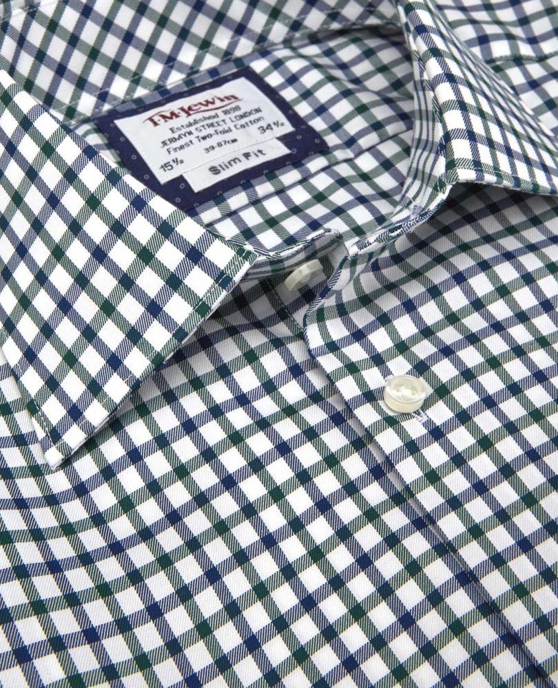 5a51b5cd4e97379 Дополнительные фото: английская Мужская рубашка белая в темно-зеленую  клетку купить ...