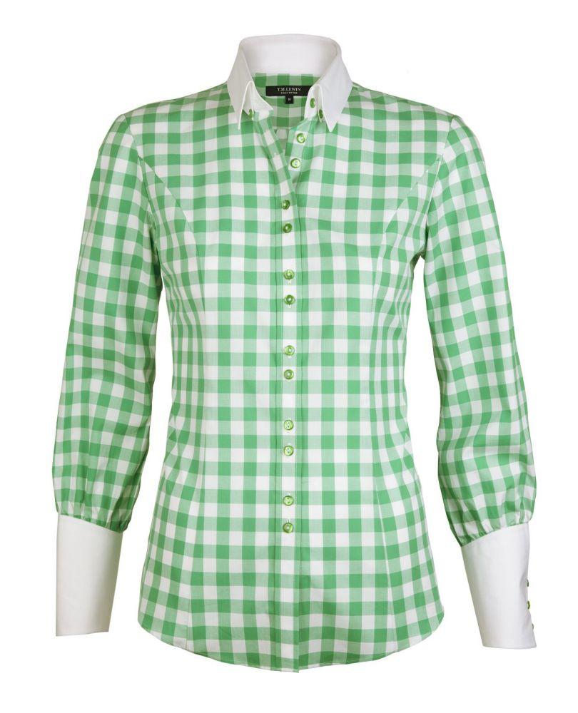 5ba6ef7273d английская Женская рубашка из Англии Великобритании белая в зеленую клетку  купить Москва T.M.Lewin приталенная Fitted