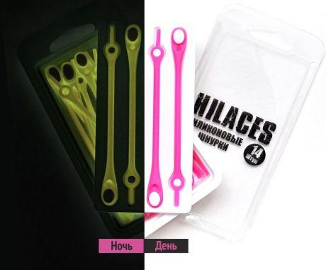 Светящиеся шнурки Розовый/Белый