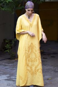 Желтое платье оверсайз из тиснёного хлопка (Москва)