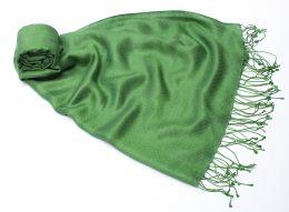 (УЦЕНКА !) Зеленый шарф-палантин из шелка с шерстью, Москва