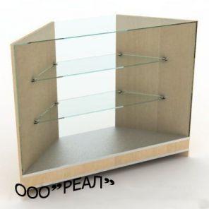Прилавок угловой остекленный с двумя стеклянными полками 700*700*900