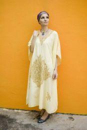 Лимонное платье оверсайз из тиснёного хлопка (Москва)