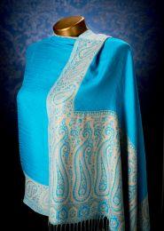 Двухсторонний голубой хлопковый палантин (под заказ)