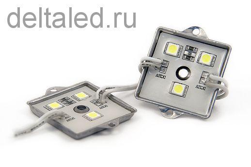 Модуль светодиодный водозащищенный смд 3 диода 5050, размер 36*36 мм, металлический корпус