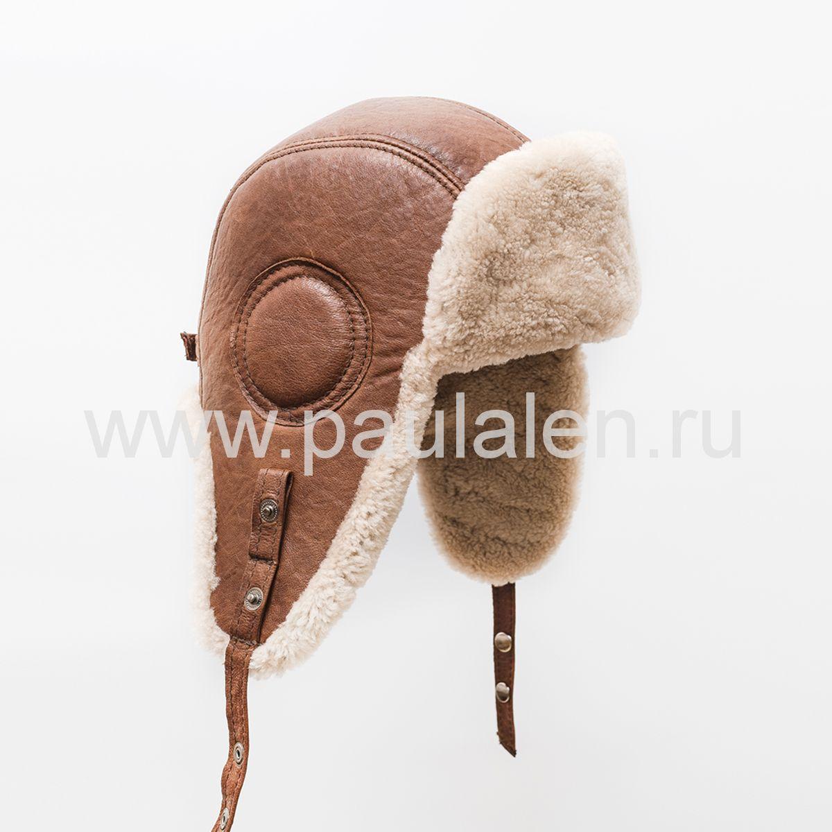 Мужской шлем Авиатор из меха овчины и кожи. Архив_B011