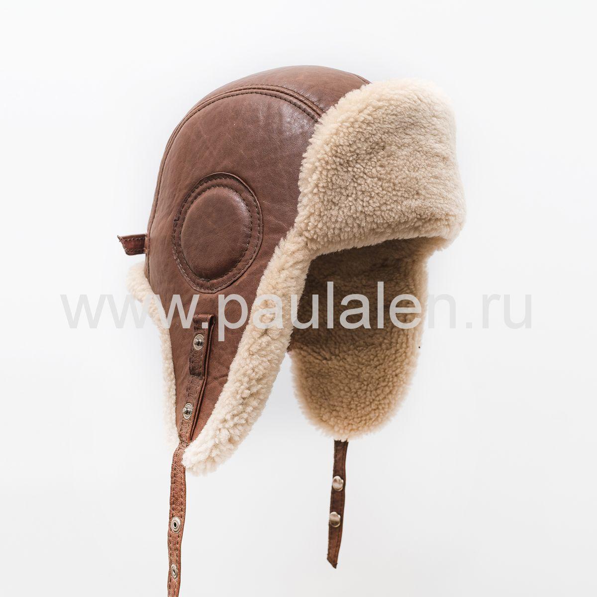 "Мужская шапка ушанка ""Авиатор"" из кожи и меха овчины. Артикул B031"