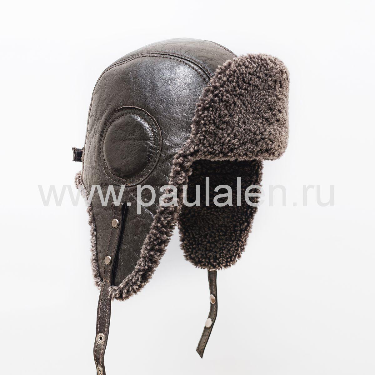 "Мужская шапка ушанка ""Авиатор"" из кожи и меха овчины. Артикул B034"