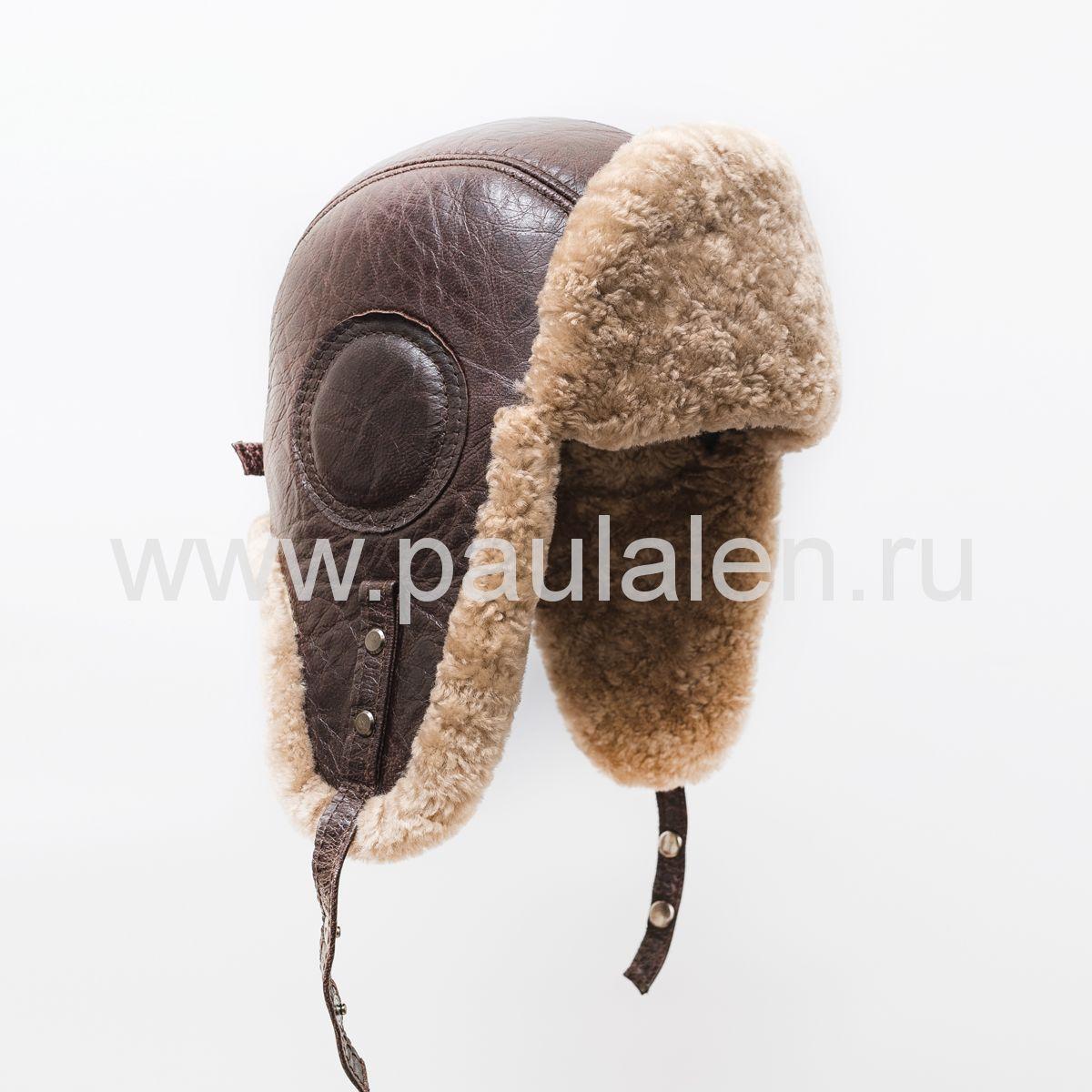 "Мужская шапка ушанка ""Авиатор"" из кожи и меха овчины. Артикул B037"