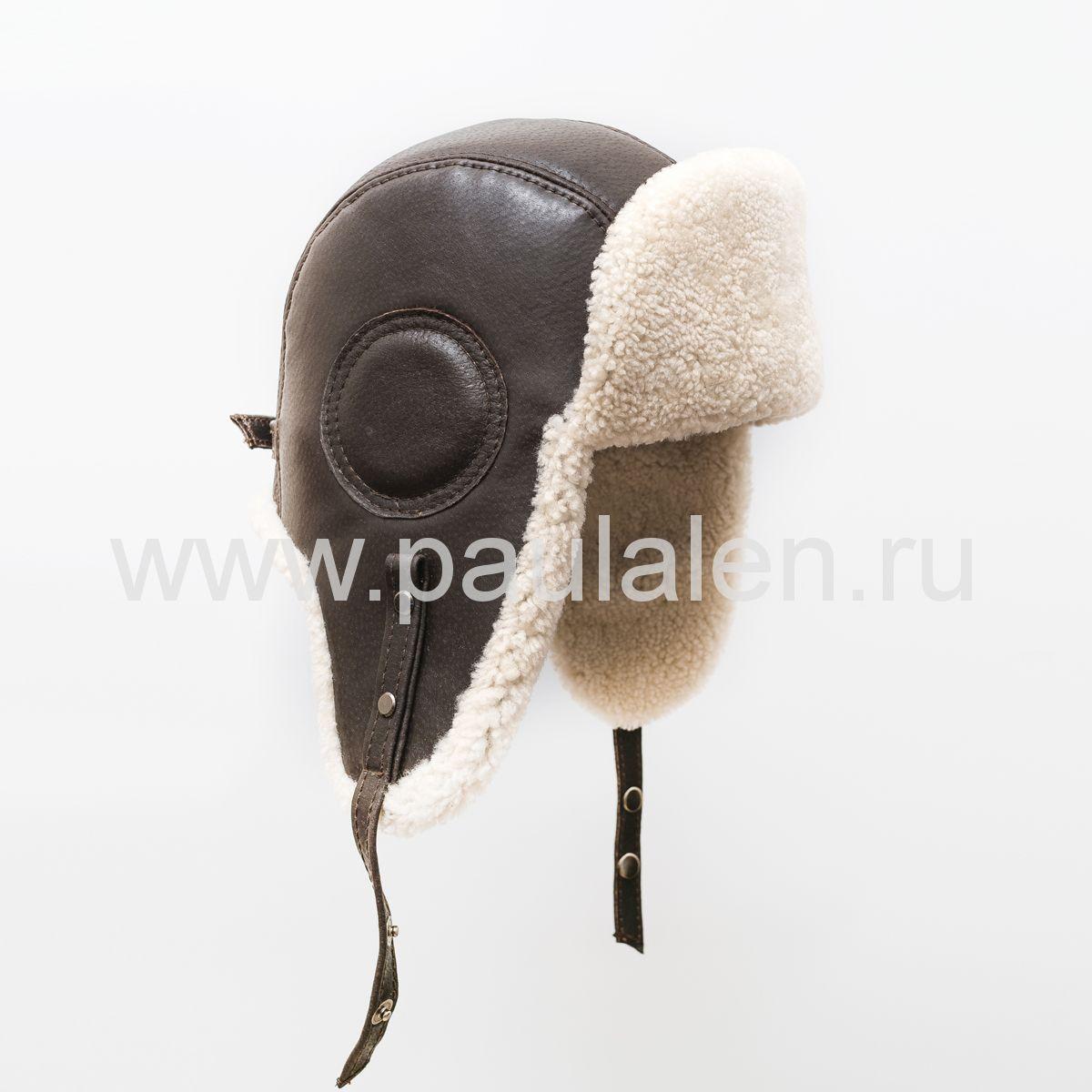 "Мужская шапка ушанка ""Авиатор"" из кожи и меха овчины. Артикул B047"