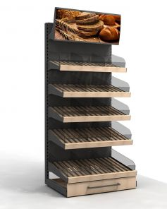 Торговый стеллаж для хлеба и булок с фризом