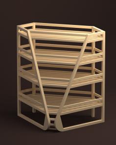 Арт. В015. Стеллаж для багетов угловой внутренний