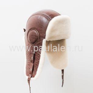 Мужской шлем Авиатор из меха овчины и натуральной кожи B016_L2