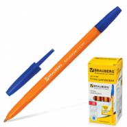 Ручка шар Brauberg офисн синяя оранж.корп 1,0мм арт.141668